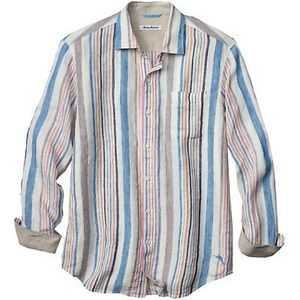 Tommy Bahama Raffia Stripe Linen Shirt
